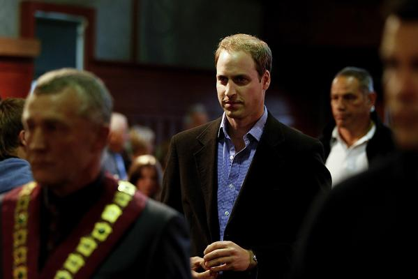 Prince William arrives at Shantytown with Grey District Mayor Tony Kokshoorn, left.