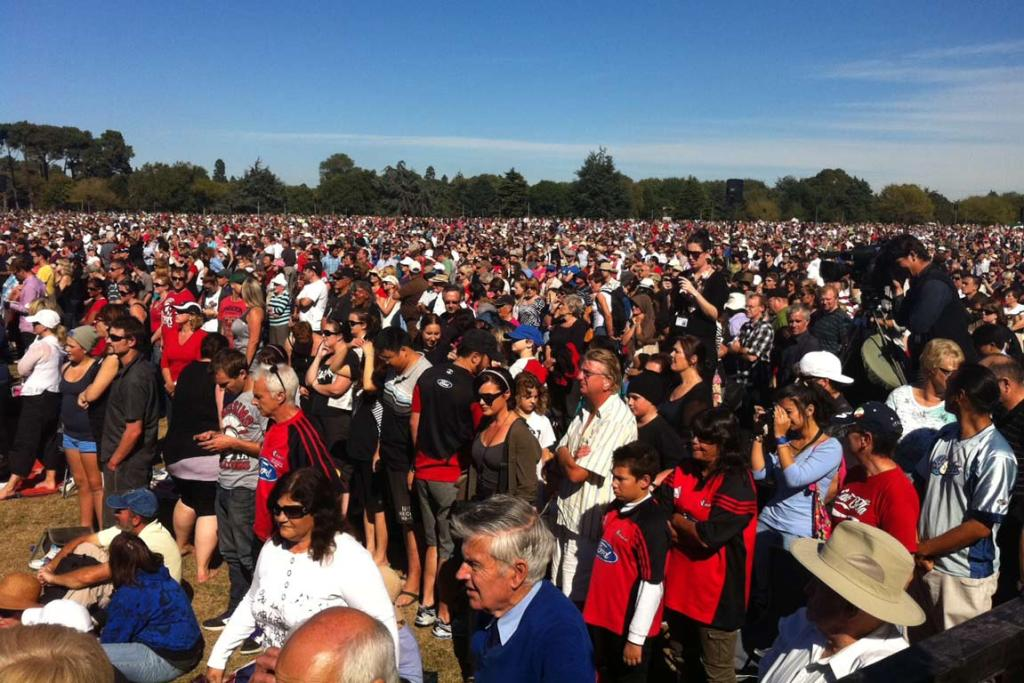Thousands of people at North Hagley park for the national Christchurch memorial service.
