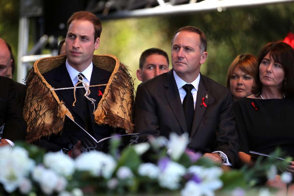 Prince William and John Key onstage at the national Christchurch earthquake memorial service.