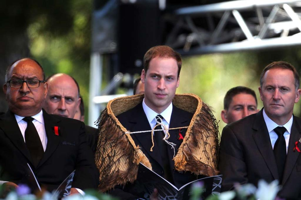 Governor General Anand Satyanand, Prince William, and Prime Minister John Key onstage at the national Christchurch earthquake memorial service.
