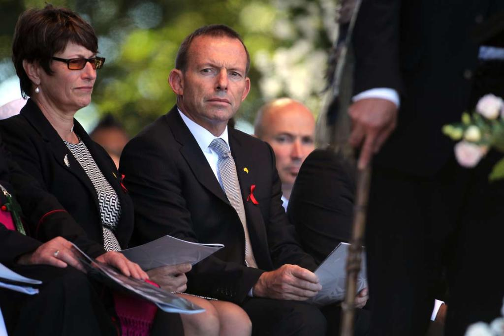 Leader of the Australian opposition Tony Abbott onstage at the national Christchurch earthquake memorial service.