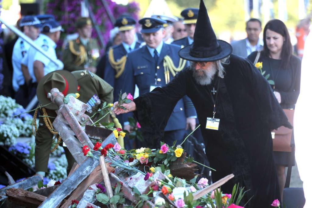 The Christchurch Wizard at the national Christchurch earthquake memorial service.