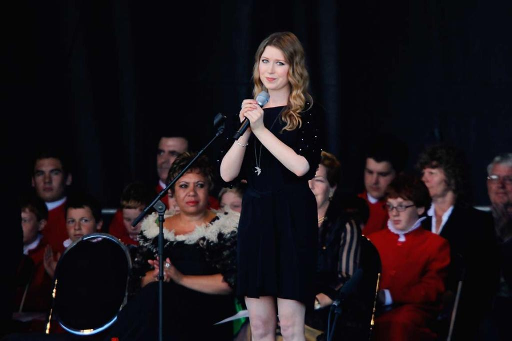 Hayley Westenra performs during the national Christchurch earthquake memorial service.