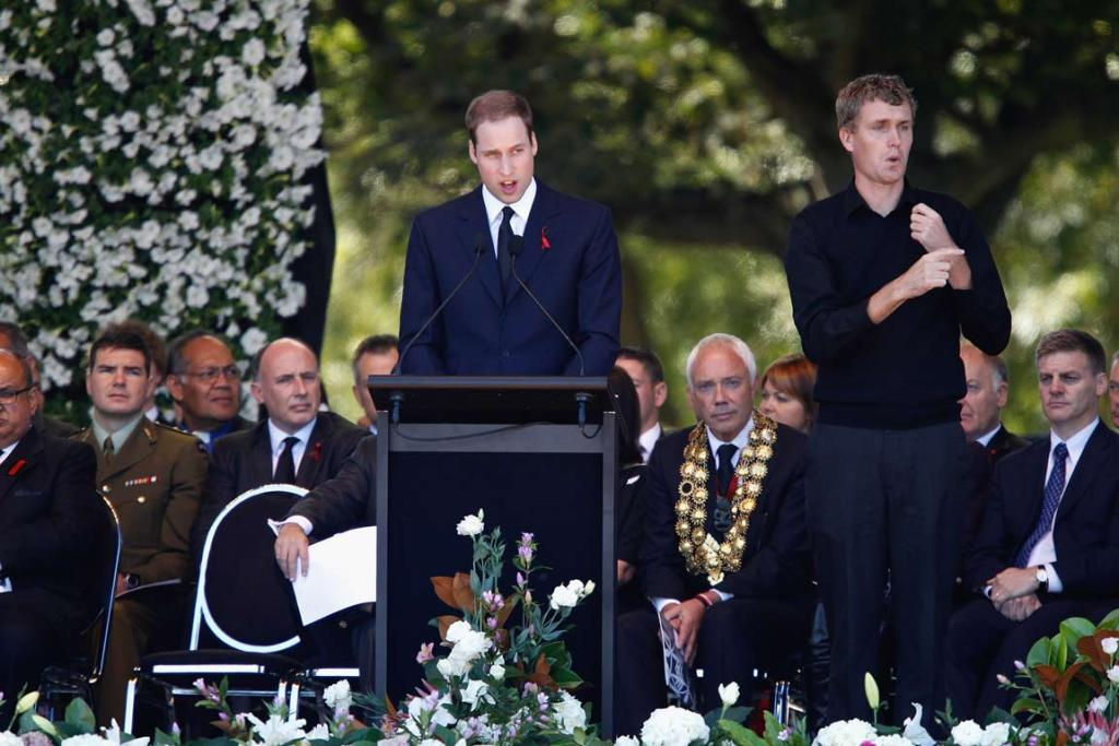 Prince William speaks during the national Christchurch earthquake memorial service.