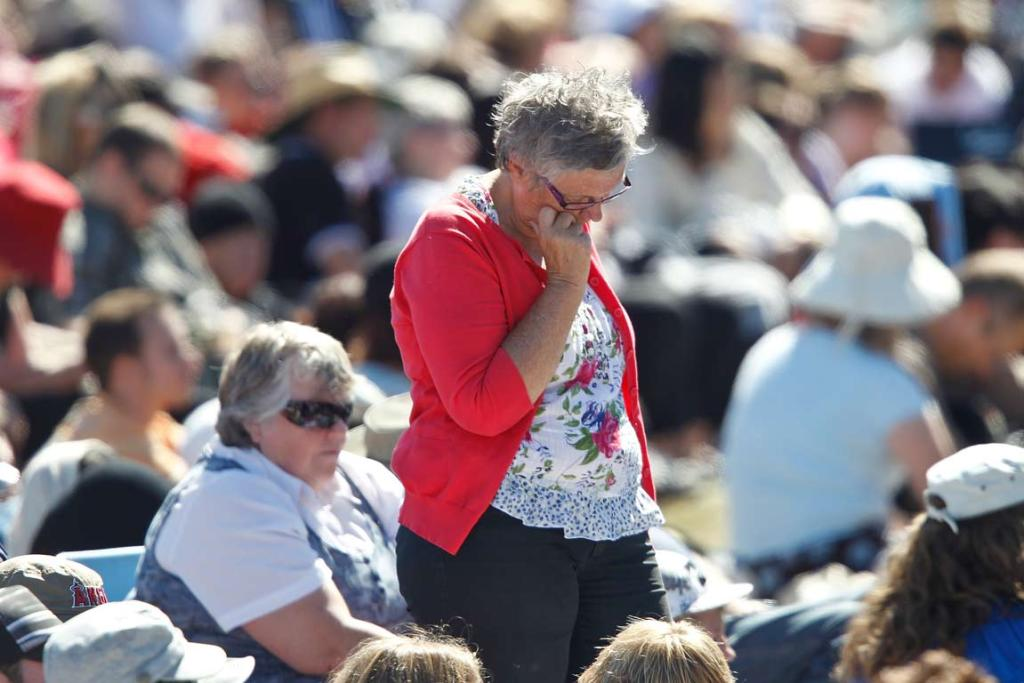 People reflect during the national Christchurch earthquake memorial service.