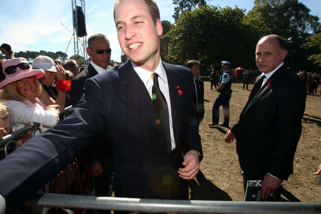 Prince William meeting people at the national Christchurch earthquake memorial service.