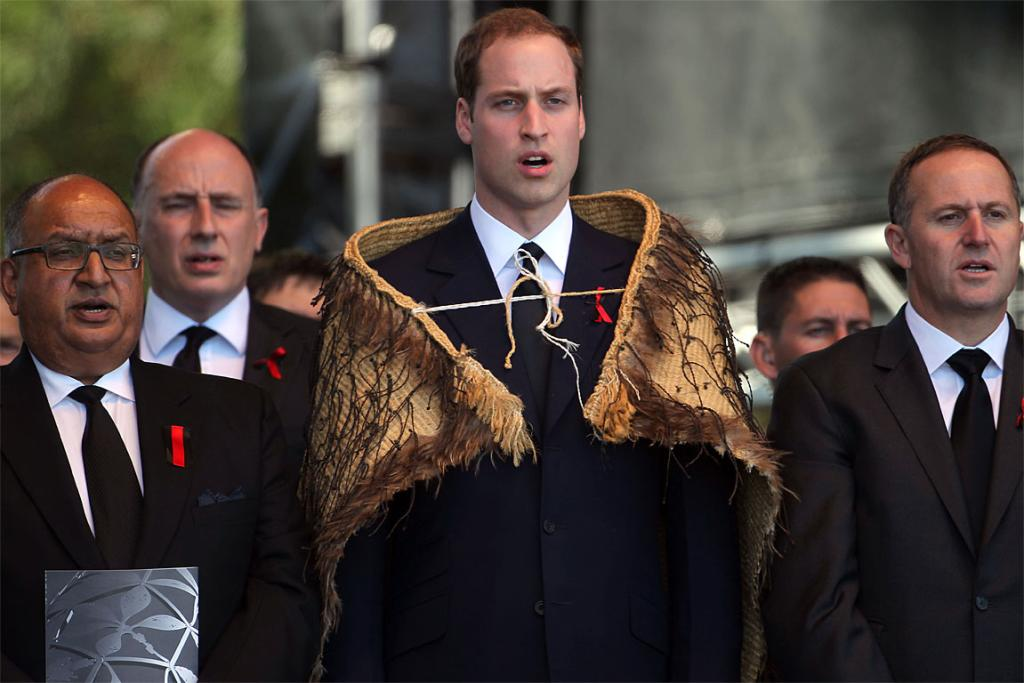 Governor-General Anand Satyanand, Prince William and Prime Minister John Key at the Christchurch memorial service.
