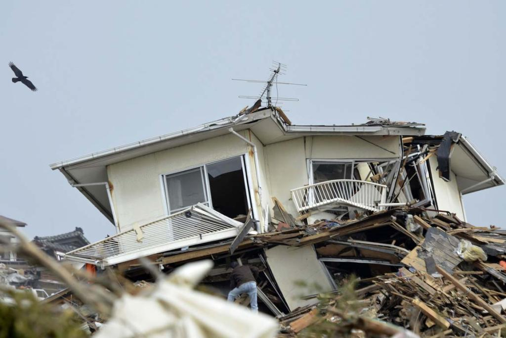 A resident braves the wreckage of a house in in Natori City, Miyagi Prefecture, northeastern Japan.