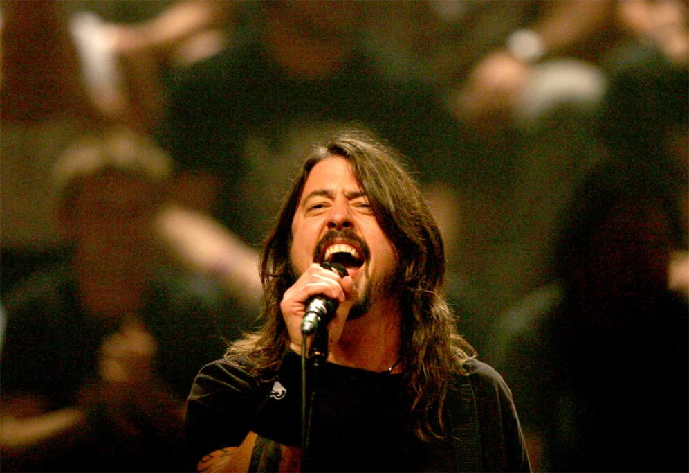 Dave Grohl belts out a song for the crowd at the Auckland Town Hall.