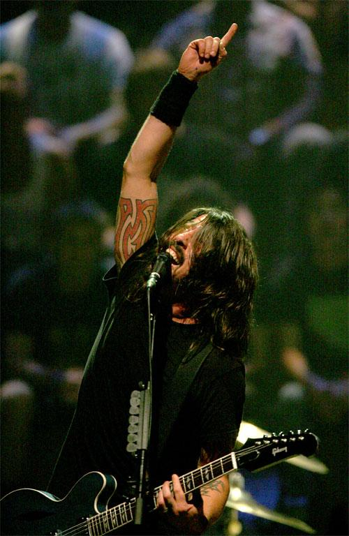 Dave Grohl gets the crowd worked up.