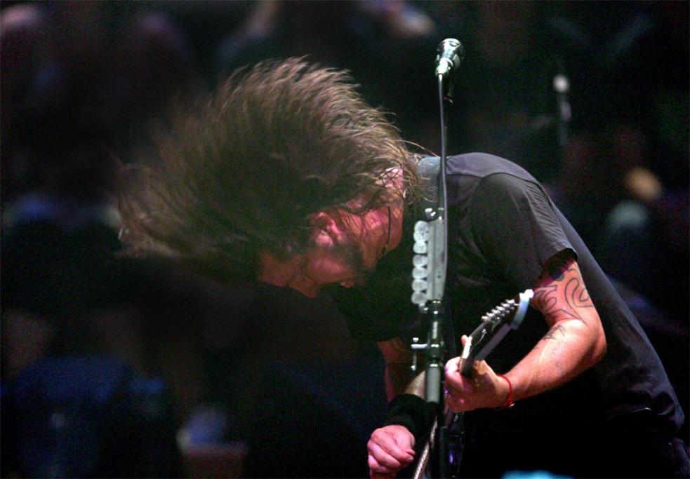 Rock veteran Dave Grohl shows he can still headbang with the best of them.