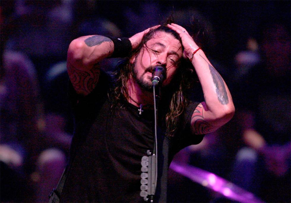 Frontman Dave Grohl works up a sweat.