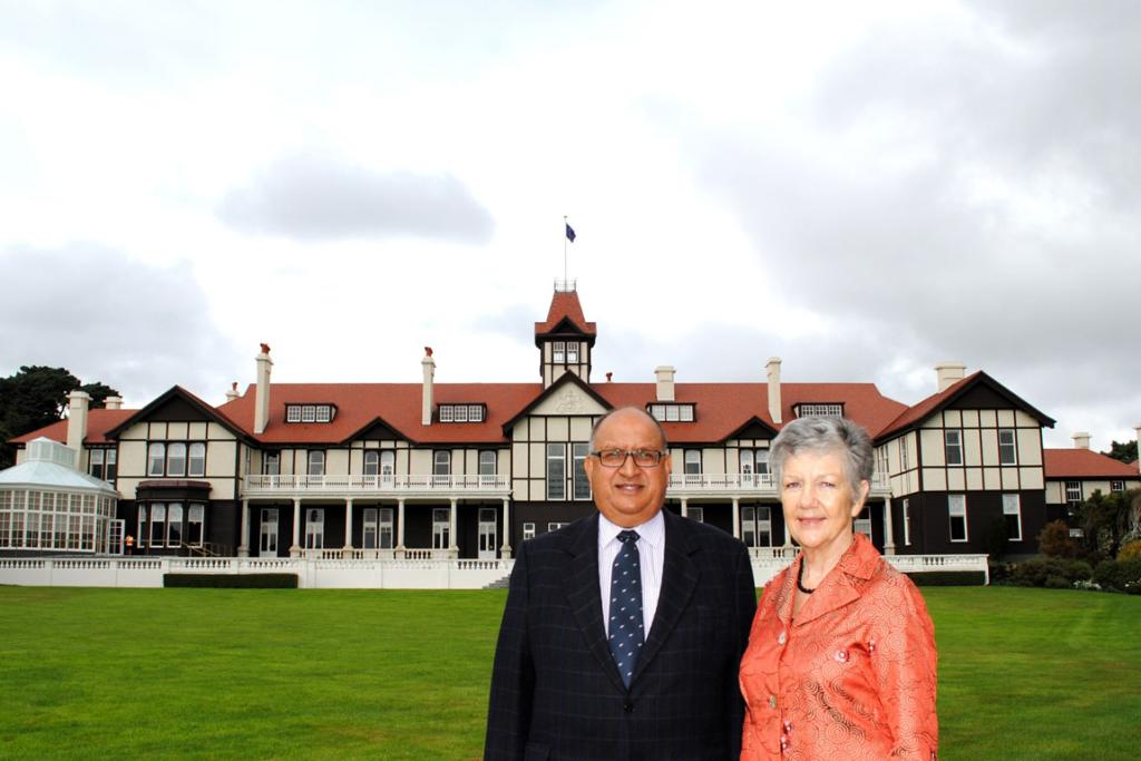 Governor-General Sir Anand Satyanand and Lady Susan Satyanand outside the newly renovated Government House.