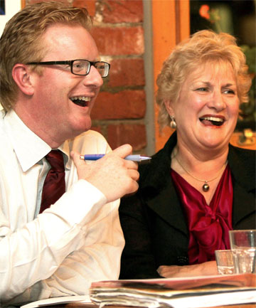 HOUSEMATES: Darren Hughes and Annette King at a celebrity debate to raise money for Christchurch last week.