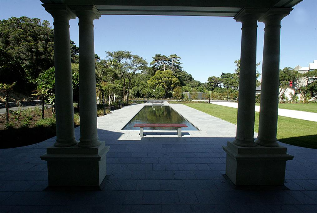 A feature of the outside landscaping is a shallow pool on the south side of Government House.