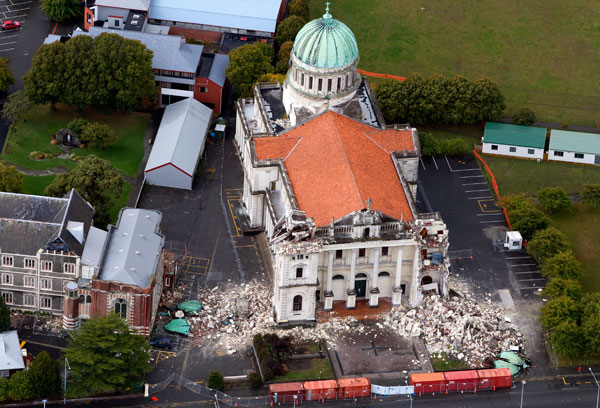 Aerial shot of the Catholic Catedral on Barbadoes St.