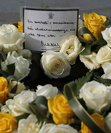 A floral tribute laid by Britain's Prince Charles in memory of those who died in the Christchurch earthquake  outside Westminster Abbey.