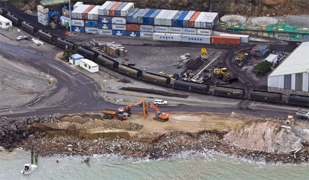 CONSENT BREACHED: Lyttelton Port has stopped dumping Christchurch demolition rubble as part of a reclamation at the eastern end of Cashin Quay after being told the dumping breaches its consent.