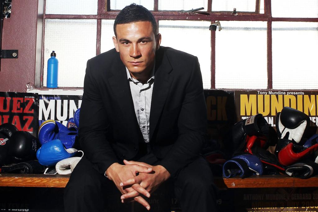 Sonny Bill Williams poses after a press conference at Tony Mundine Gym.