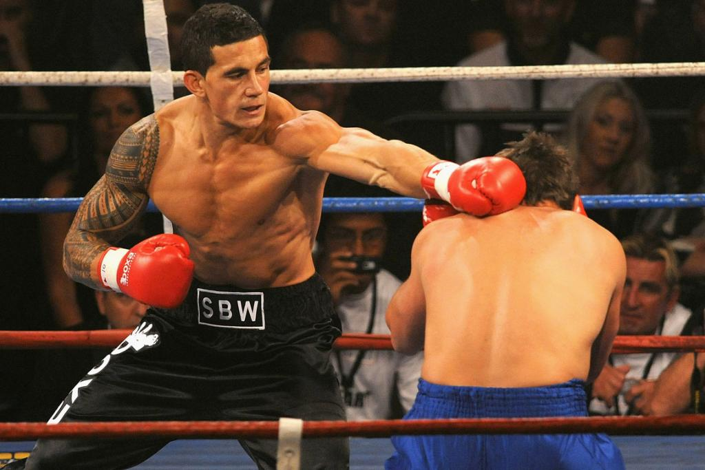 Sonny-Bill Williams throws a left jab during the heavyweight exhibition fight between Sonny Bill Williams and Gary Gurr.
