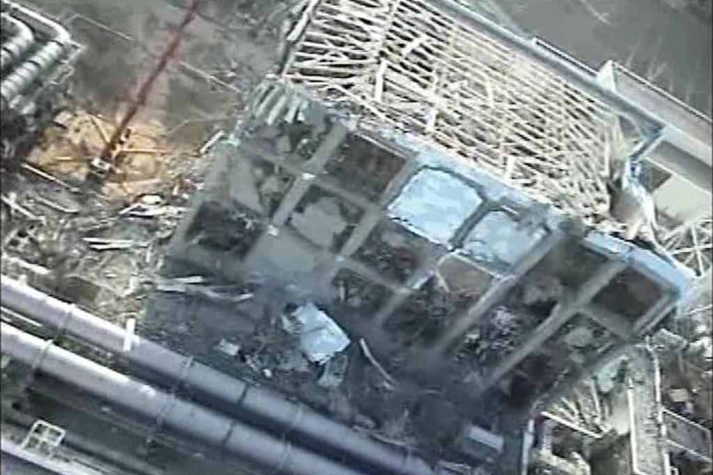 TEPCO's crippled Fukushima Daiichi Nuclear Power Plant No.4 reactor is seen in this still image taken from a video shot by an unmanned helicopter on April 10, 2011.