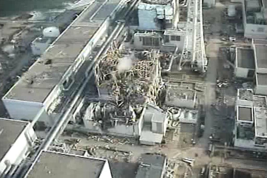 TEPCO's crippled Fukushima Daiichi Nuclear Power Plant No. 3 reactor in Fukushima prefecture, northern Japan is seen in this still image taken from a video shot by an unmanned helicopter on April 10, 2011.
