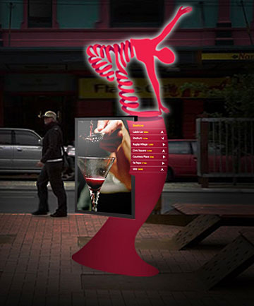 IT'S A BEACON: Seven three-metre-tall red-illuminated beacon spots like this will be dotted around Wellington in September to tell what's on where.