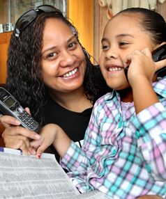 Kalina A'a, pictured with daughter Kiscera.