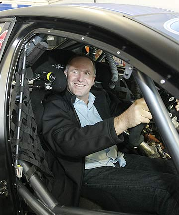 DRIVER'S SEAT: An air force Iroquois helicopter flew John Key from Mechanics Bay, Auckland, to Waikato Stadium for the V8 races, and then back again.