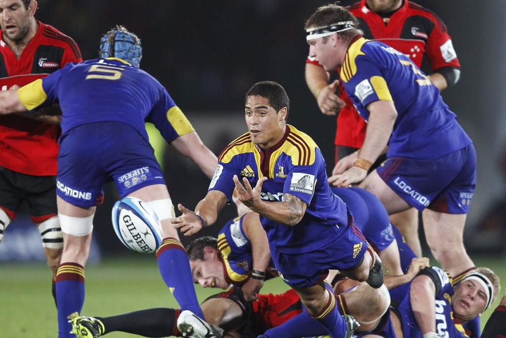 Highlanders halfback Aaron Smith gets his pass away during the round 10 Super Rugby match against the Highlanders at Trafalgar Park in Nelson.