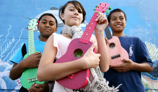 HIGH HOPES:  Beach Haven School students, from left: Shammah Taualii, 10, Tyler Cassidy, 11, and Uikilifi Leaaetoa, 11, need more people to watch their ukulele group's YouTube clip.