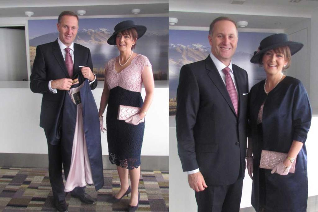 Prime Minister John Key and his wife Bronagh show off their Royal Wedding outfits before leaving for Westminster Abbey.