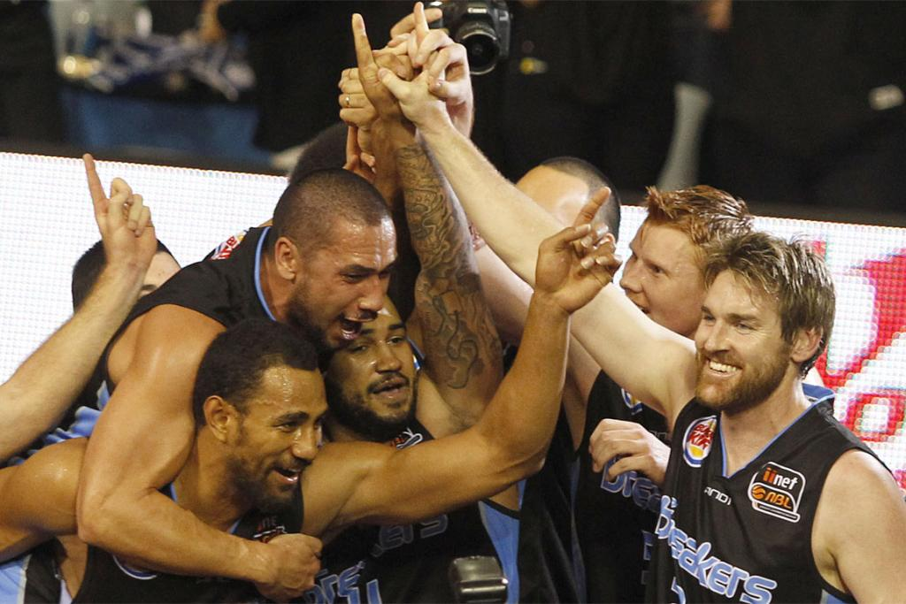 NUMBER ONE: The Breakers celebrate winning the Australian NBL grand final series against the Cairns Taipans.
