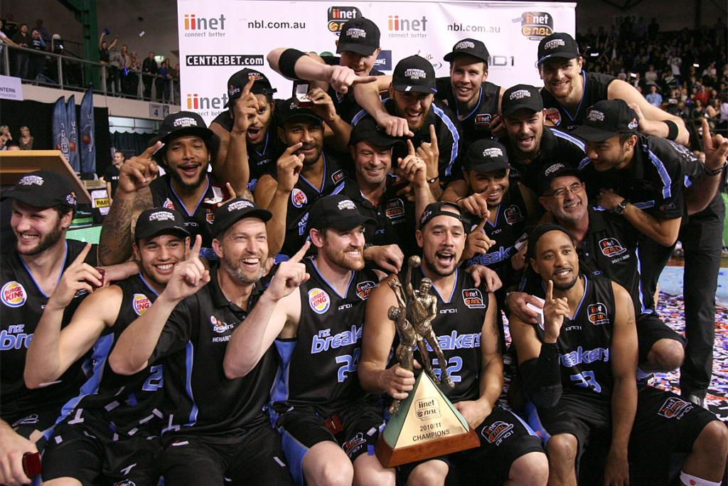 The Breakers celebrate the victory in game 3 of the NBL Grand Final basketball series.