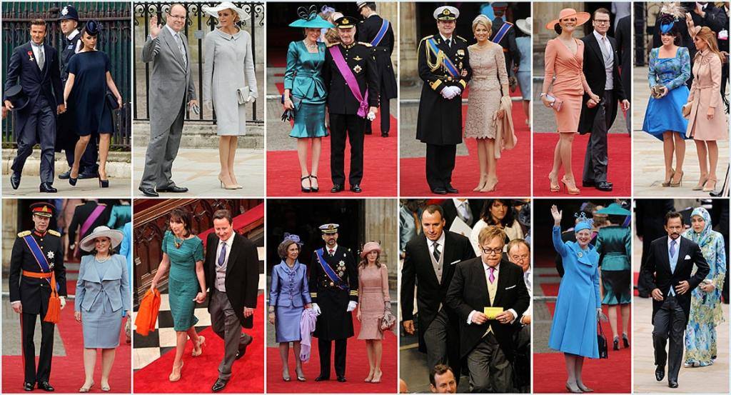 LINING UP: A combo picture shows guests arriving for the royal wedding of Prince William and Kate Middleton From top left, British footballerr David Beckham and his wife, Victoria, Prince Albert II of Monaco and Charlene Wittstock, Crown Prince Philippe of Belgium and Princess Mathilde, Crown Prince Willem Alexander and Princess Maxima of The Netherlands, Crown Princess Victoria of Sweden and Prince Daniel, Duke of Vastergotland, Princesses Eugenie and Beatrice, Henri, Grand Duke of Luxembourg and Maria Teresa, Britain's Prime Minister David Cameron and his wife Samantha, Queen Sofia of Spain, Prince Felipe and Princess Letizia, British singer Elton John and his partner David Furnish, Queen Margrethe of Denmark, Hassanal Bolkiah, Sultan of Brunei.