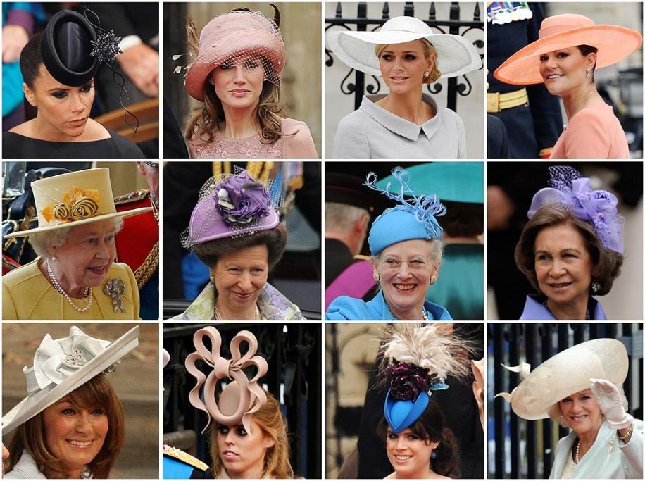 A combo picture shows guests wearing hats. (From top left) Victoria Beckham, Princess Letizia, Charlene Wittstock, the fiancee of Prince Albert II of Monaco, Crown Princess Victoria of Sweden, Britain's Queen Elizabeth, Anne, the Princess Royal, Queen Margrethe of Denmark, Queen Sofia of Spain, Carole Middleton, Kate's mother, Princess Beatrice, Princess Eugenie and Camilla, the Duchess of Cornwall arrive for the wedding ceremony of Prince William and Kate Middleton.