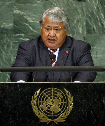 MOVING FORWARD: Samoan Prime Minister Tuila'epa Sailele, pictured speaking at the United Nations, says the country will move the international dateline east.