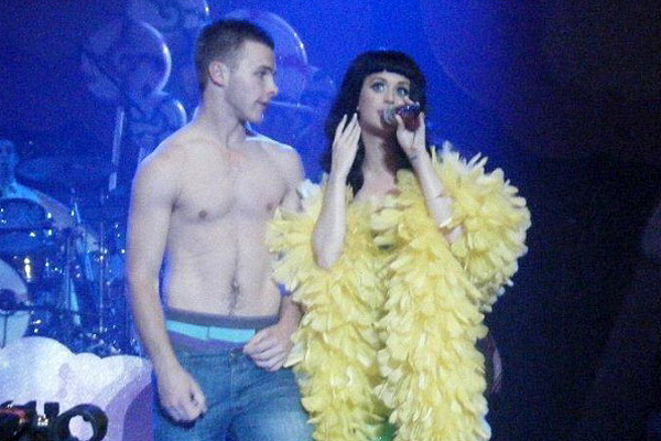 LUCKY GUY: Jimi Russell was invited on to the stage and took his shirt off for Katy Perry.