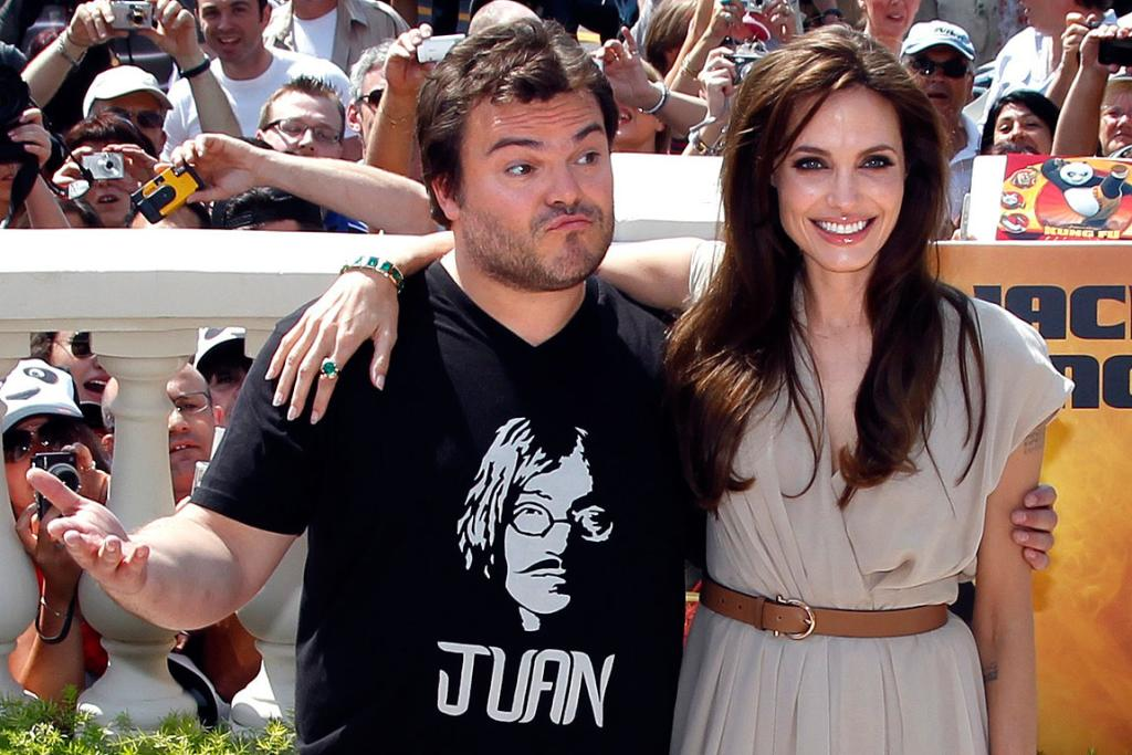 STARS IN TOWN: Angelina Jolie and Jack Black pose during a photocall for the animated film Kung Fu Panda 2 during the Cannes Film Festival.