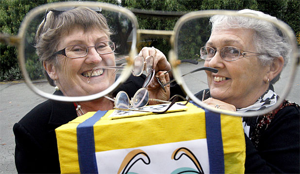 WHAT A SIGHT: Members of Timaru Suburban Lions are collecting old glasses to send to people in the Pacific Islands. President Angela Kerr, left, and project director Mary Williamson hope people will donate more eyewear in the next few weeks.