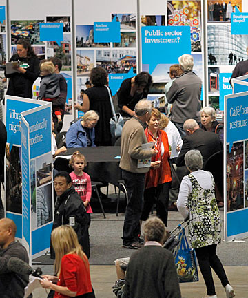 Caring and sharing: Thousands of people attended the Share an Idea expo at Christchurch's CBS Canterbury Arena over the weekend, offering diverse ideas for the city's rebuild.