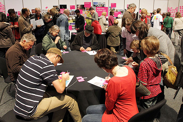 BIG IDEAS: Thousands of people attended the weekend's Share an Idea expo to offer their ideas for rebuilding Christchurch.