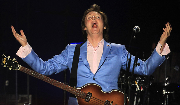 STILL ROCKING: Sir Paul McCartney photographed this month performing at a concert in Lima, Peru.
