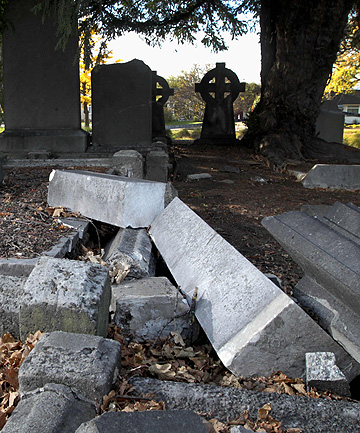 FALLEN MEMORIALS: Headstones and gravesites at the Barbadoes St cemetery have been extensively damaged in the quakes.