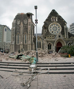 The ruined Christchurch Cathedral.