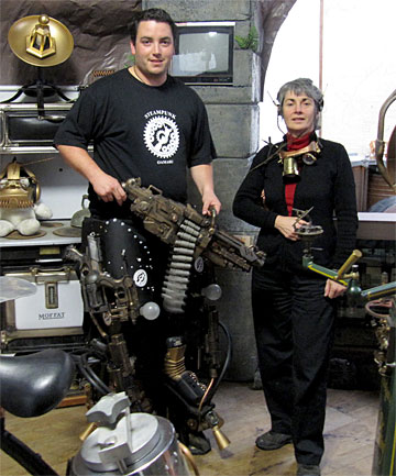 LEADING THE CHARGE: Libratory owner Damien McNamara and League of Victorian Imagineers member Helen Jansen in Mr McNamara's Steampunk gallery in Oamaru. Steampunk has taken the town by storm.