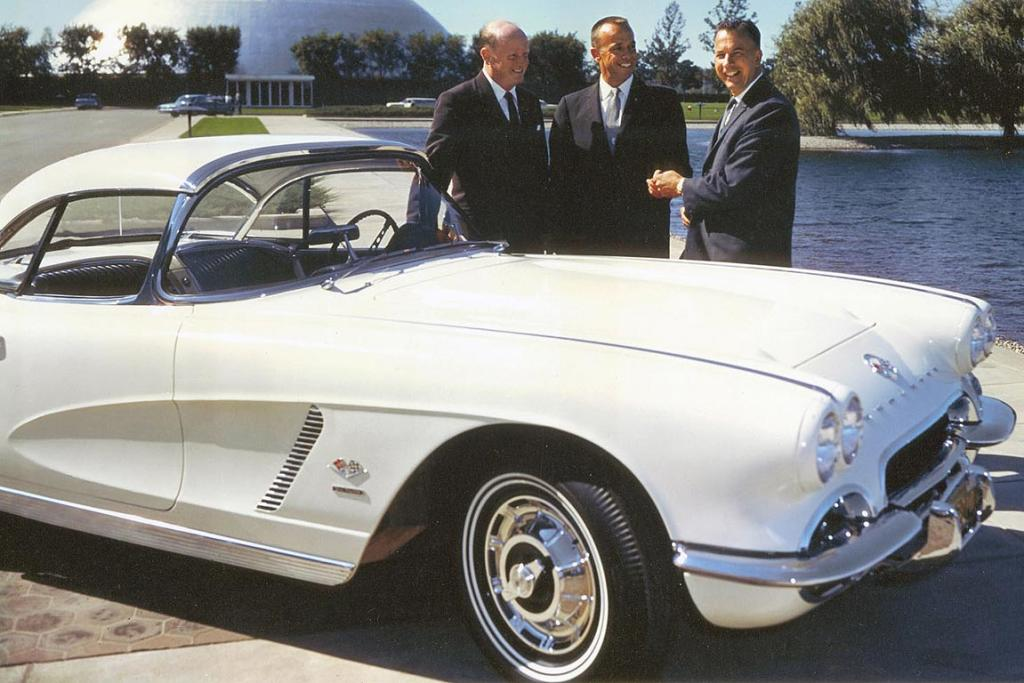 SPACEMAN'S CORVETTE: Astronaut Alan Shepard with GM Styling President Bill Mitchell (left) and Chevrolet General Manager Ed Cole (right) with Shepard's Corvette.