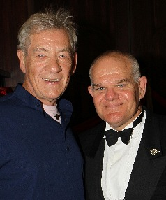 Sir Ian: Mark Hadlow, right, with Sir Ian McKellen at the opening of The Roxy, Miramar, Wellington in March.