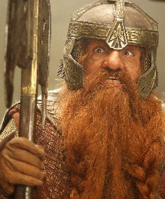 Dwarf days: While secrecy surrounds the costumes on The Hobbit, Mark Hadlow's character could look similar to Welsh actor John Rhys-Davies, pictued as Gimli the dwarf in The Lord of the Rings.
