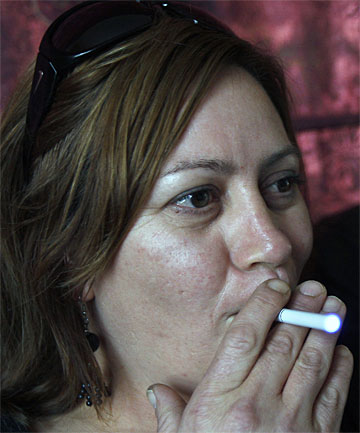 SEEKING SUBSTITUTES: Smoker Vanessa Marr has  turned to electronic cigarettes in an effort to quit.
